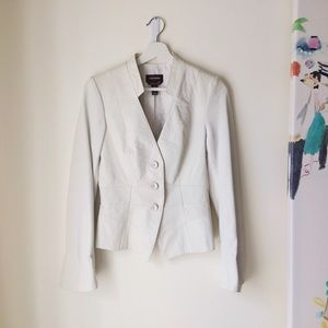 Danier buttersoft leather fitted white blazer